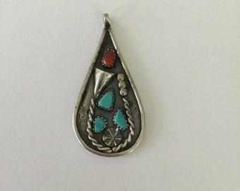Vintage Navajo Pear Drop Pendant With Coral And Turquoise, Signed