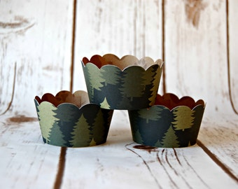 Forest Cupcake Wrappers, Reversible Cake Wraps,  Pine Trees Cupcake Decoration, Animal Footprint Cupcake Wrappers (set of 6)