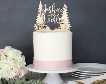 Personalized Pine Tree Wilderness Mountain Outdoor Wedding Cake Topper | Custom Name