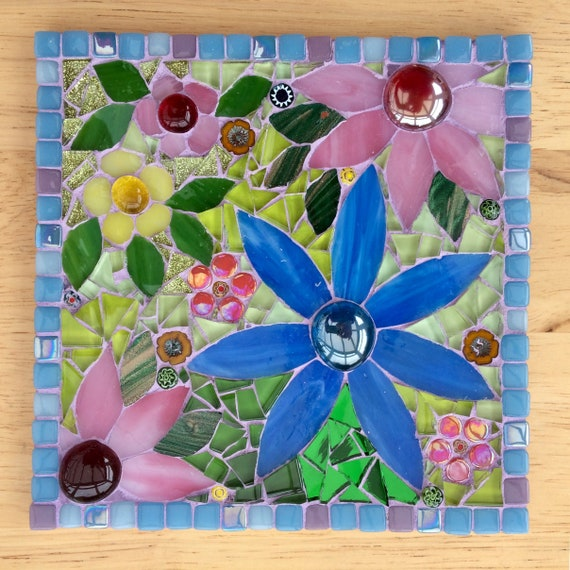 Handmade glass flower mosaic pictureMother's Day gift Unique gift idea Home decor 'Blue and Pink Daisies' Mosaic wall art