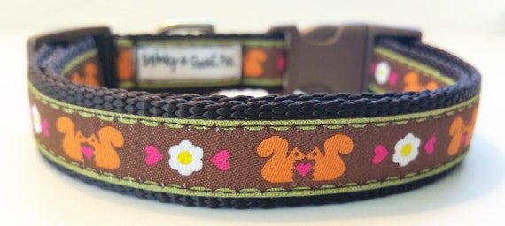 Little Squirrels - Dog Collar / Handmade / Adjustable / Pet Accessories / Small dog Collar / Pet Lover / Gift Idea