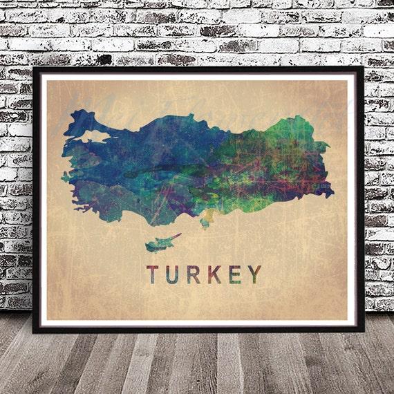 Vintage Turkey country map PRINT watercolor painting POSTER