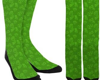 Holiday Crew Socks - Holiday Socks - Santa Socks - Green Christmas Socks -Unique Socks - Novelty Socks - Cool Socks - FREE Shipping E15