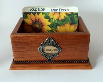 RECIPE CARD BOX, Solid Cherry, 6 custom tempered hardboard divider cards included