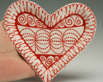 Small Heart Shaped Rim Dish, Red and White Hand Made Gifts, Valentines Day Plate, Ceramic Heart Trinket Plate