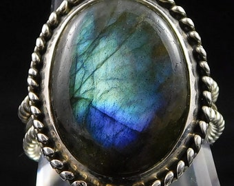 Labradorite Ring, Sterling Silver Size 9.75