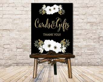 Wedding Card Box Sign // Card Box Sign // Cards and Gifts Wedding Sign / Black and Gold Floral // Art Deco Wedding / Printable Wedding Sign