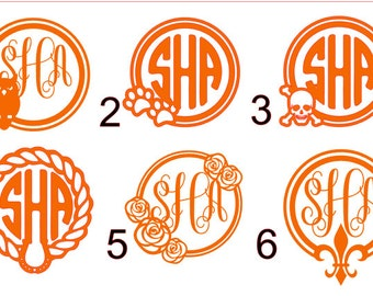 Monogram decal 3 - free shipping - vinyl decal - indoor, outdoor - yeti decal - circle monogram - laptop decal - car decal - cup decal