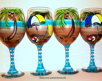 Palm Trees - Bridesmaids Gift Hand Painted Wine Glasses Beach Ball Beach Chair Umbrella Set of  4 / 20 oz.  Wedding Bachelorette Party