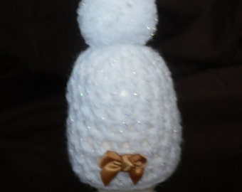 White Sparkle Egg Cosy with Bobble