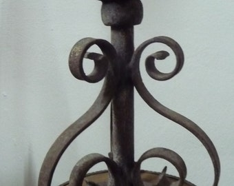 FRENCH outdoor lamp fitting. Wrought iron. Very heavy. Art nouveau
