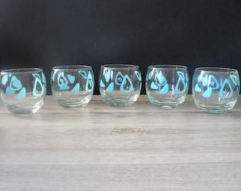 Vintage Aqua Amoeba Boomerang Roly Poly  Glasses Set of 5