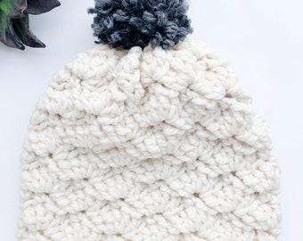 Crochet Adult Hat - Cream with Gray Pom - Adoption Fundraiser
