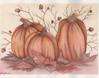 Pumpkin Trio - 9x12in. Original Watercolor Painting