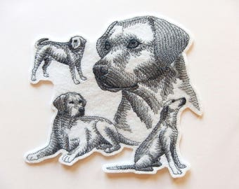 Applique badge patch embroidery fusible (sketch) labrador dog