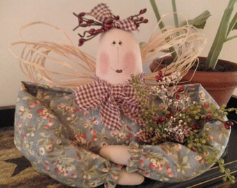 Handmade, Primitive, Garden Doll, Shelf Sitter, Home Decor