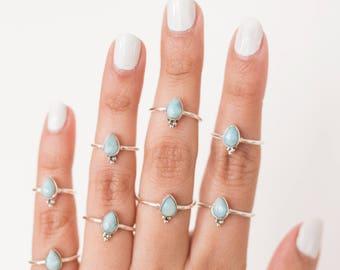 Rings * Larimar * Dainty Rings * Teardrop Ring * Pear Ring * Larimar Jewelry * Sterling Rings * Gift * Dainty Jewelry * Minimalist Rings