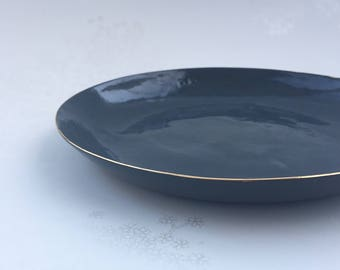 Gold Rimmed Black Porcelain Side Plate. Modern, Minimalist Ceramic Dining. Serving. Home Decor. Handmade Clay Plate. FebbieDay Ceramics.