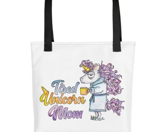 Tired Unicorn Mom Overnight Carry On Tote Bag Reusable Shopping Bag