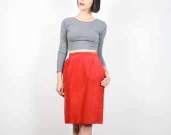Vintage Red Skirt Mini Skirt Leather Skirt Suede Skirt High Waisted Skirt Pencil Skirt 1980s 80s Skirt Hot Wiggle New Wave XS S Extra Small