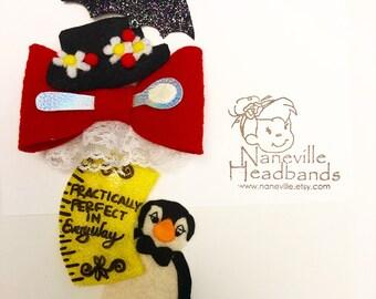 Mary Poppins, full crown headband or clip set