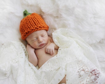 Pumpkin Baby Hat, Newborn Photography Prop, Halloween October Baby, Hat Knit