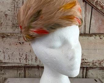 Feather Hat Union Made label tan orange green gold  vintage pillbox feather hat