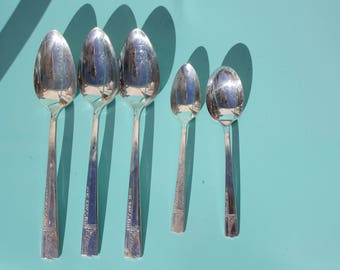 """1937 Vintage Nobility Plate """"Caprice"""" Silverplate by Oneida- Set of Five ( 5 ) - 3 Serving Spoons, 1 Teaspoon, 1 Sugar - Very Good Condition"""