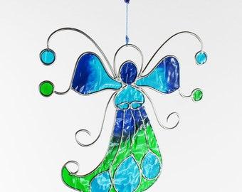 Window decoration angel, turquoise windows, Green