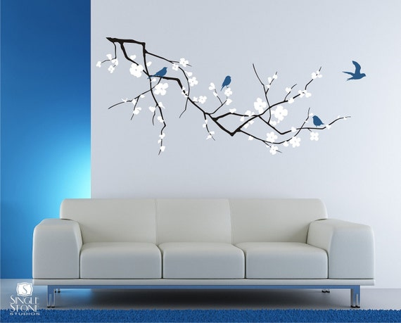 & Cherry Blossom Tree Branch Wall Decal with Birds Vinyl Wall