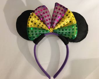 Mardi Gras Purple Yellow Green Bow Minnie Mouse Ears Disney inspired Headband
