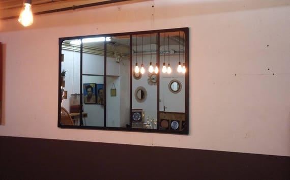 miroir style verriere industriel 150 x 100. Black Bedroom Furniture Sets. Home Design Ideas