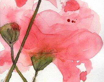 Moderne botanische kunst Print, koraal Poppy, bloemenprint voor kunst, grote archivering botanische kunst