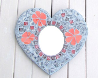 Mosaic Mirror ~ Gift for her ~ Heart Mirror ~  Wall Decor for the Bathroom, Bedroom or Living area ~ Upcycled Art ~ Heart Mosaic