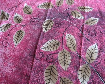 Fuscia Pink Scarf with Leaves by Gim Renoir, Italian designer, 1970s vintage printed magenta & black neck headscarf. Pretty all seasons wrap