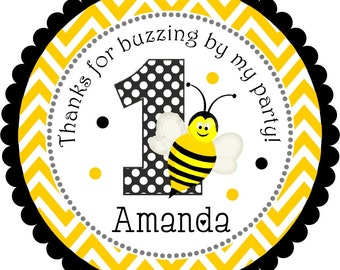 Bumble Bee Stickers, Personalized Bumble Bee labels, Bee Gift Tags, Bumble Bee Birthday Party - Set of 12