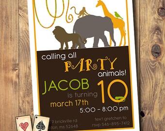Safari Birthday Invitattion, Jungle Theme Party, Safari Party, Zoo Party, Zoo Birthday, Africa, Animals, Printable, Digital, Download