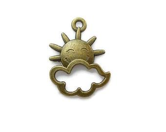 SET of 10 charms Sun cloud bronze (T24)