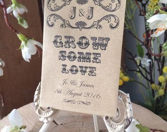 """20 x Personalised Wedding Favour Seed Packets - """"Grow Some Love"""""""
