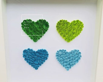 Handmade paper quilled four love hearts in cool blues and greens framed