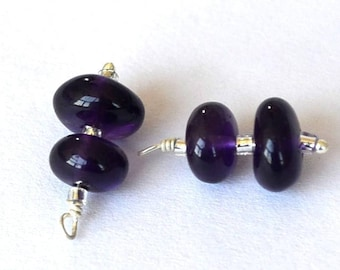 Stunning pair of amethyst rondelles on silver wire