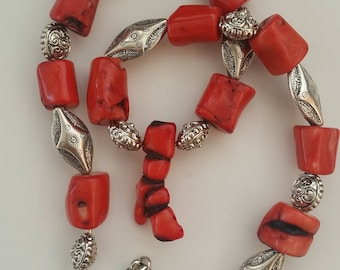 Red Coral Necklace / Silver Necklace / Red Necklace / Coral / Turquoise Jewelry