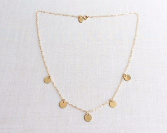 Gold Disc necklace, Small Gold Coin Necklace, 14k Gold Fill Disc Neckalce, Coins Drop Necklace, Dainty Gold Necklace, Gold Necklace, GDNDISC