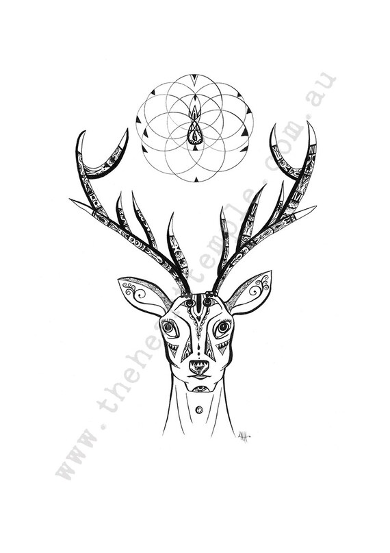 Deer drawing sketch print antlers sacred geometry flower