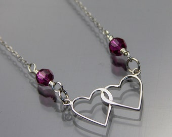 Double hearts Necklace - Gift for her - Sterling Silver with crystals - Lovers necklace - Love jewelry - Linked hearts necklace - Two hearts