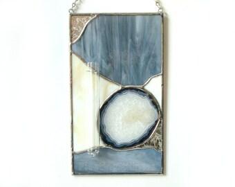 Bud Vase Stained Glass Agate Geode Panel Grey Beige Handmade OOAK