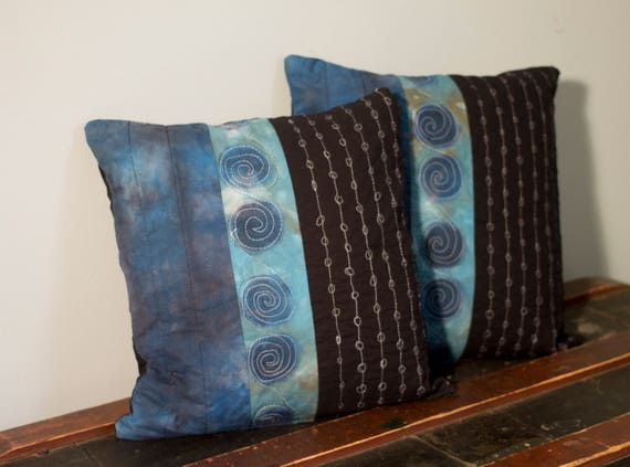 "Shibori Quilted Pillow Cover, Handmade Modern Zipped Pillow Cover, 18"" x 18"" Pillow Cover"