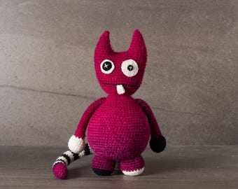 Leslie the Monster; amigurumi, crocheted, crocheted critter, teenager, toy, softie, gift.