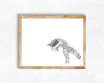 Jumping Fox - Giclée print
