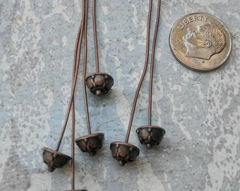 Bead cap headpins, copper headpins, antique copper,